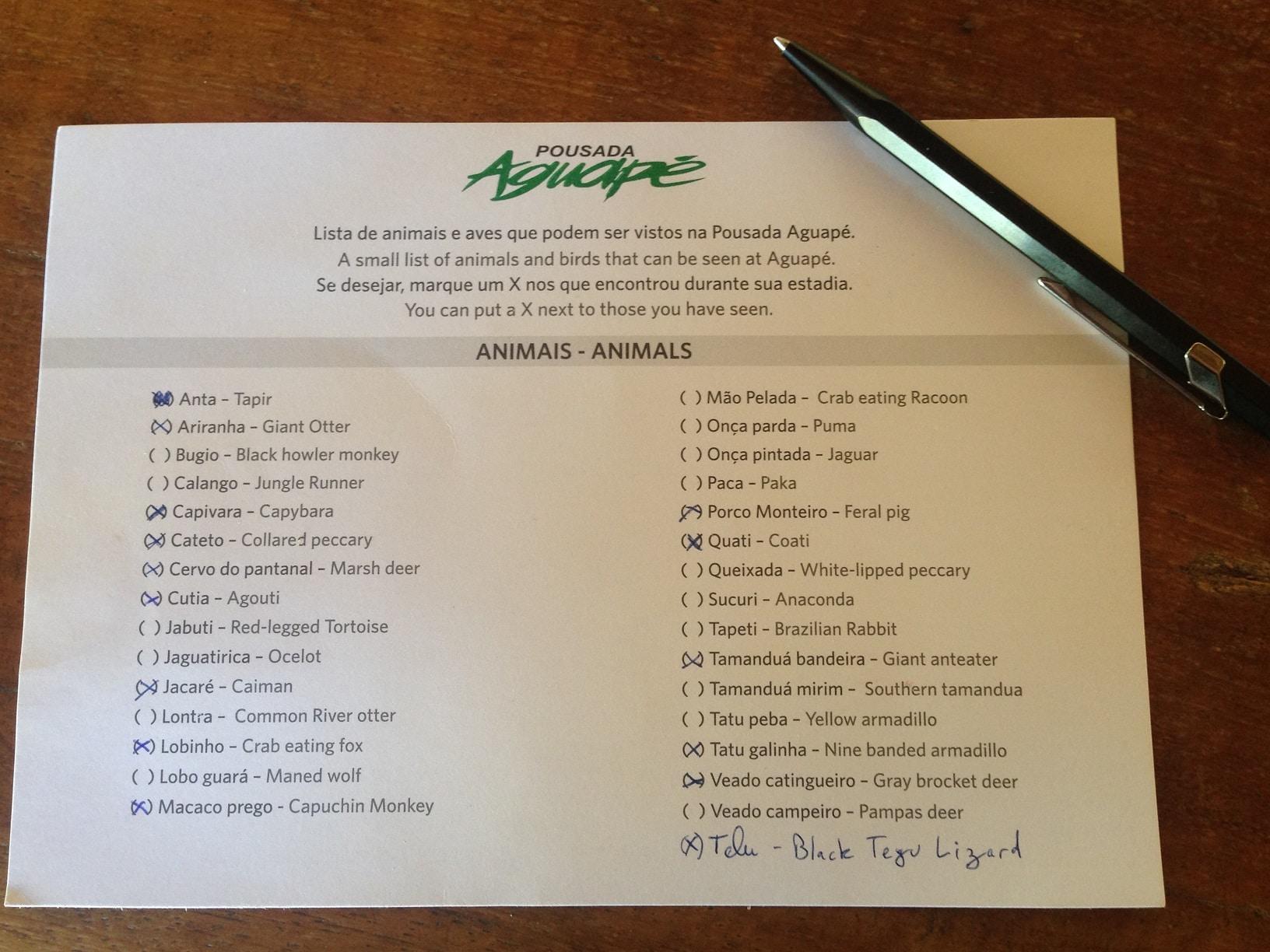 pantanal_bresil_pousada_aguape_checklist_animaux