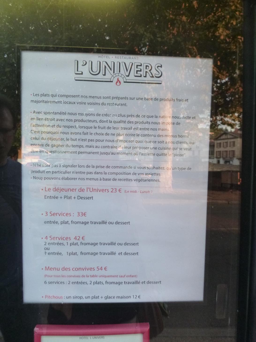 Le menu