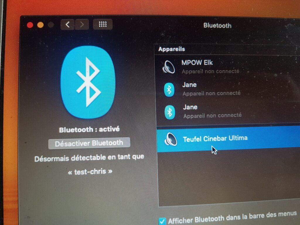 bluetooth avec un mac